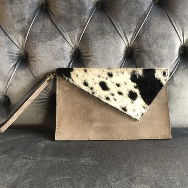 Sarah Clutch with Animal Hide
