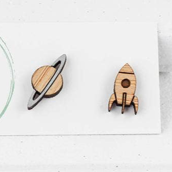 Planet & Rocket Bamboo Studs