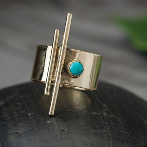 Turquoise Brass Pipe Ring