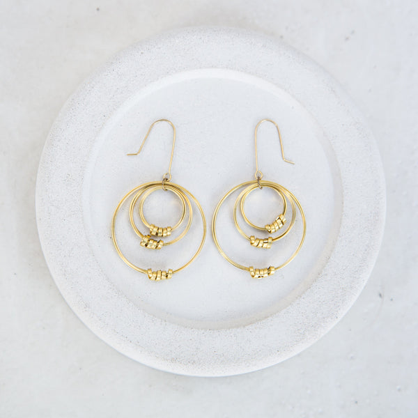 Brass Ribbon Triple Off-Set Hoop Earrings