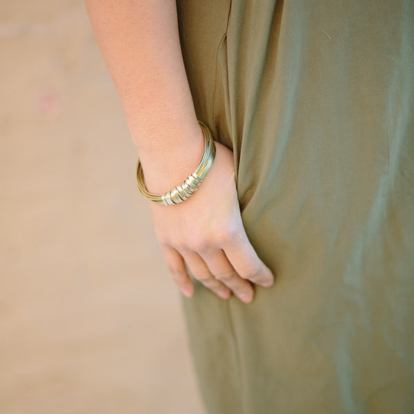 Brass Ribbon Bangle Bracelet