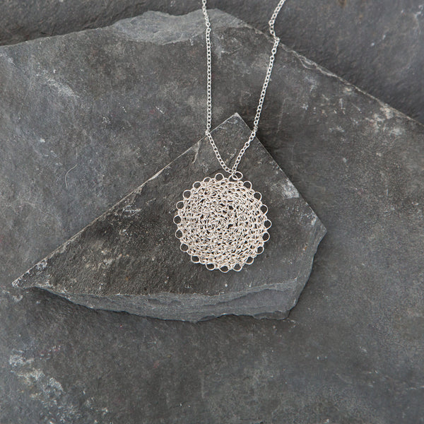 Marisol Crocheted Silver Pendant Necklace