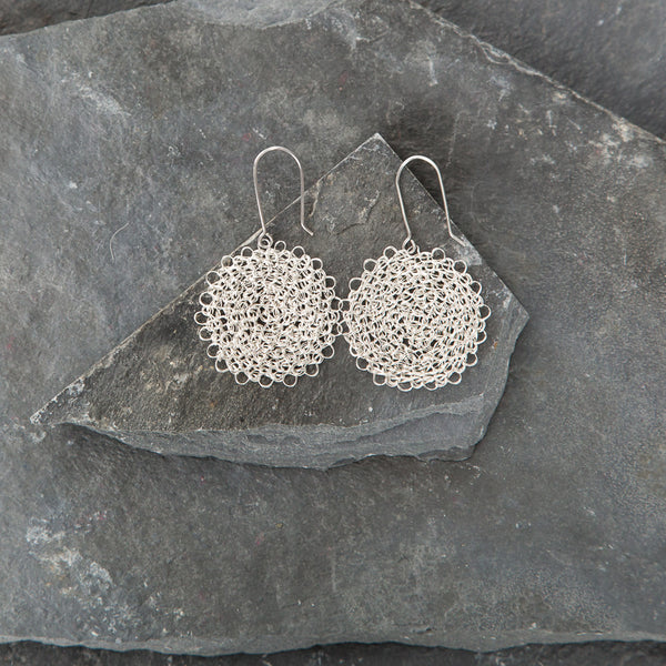 Marisol Crocheted Silver Earrings