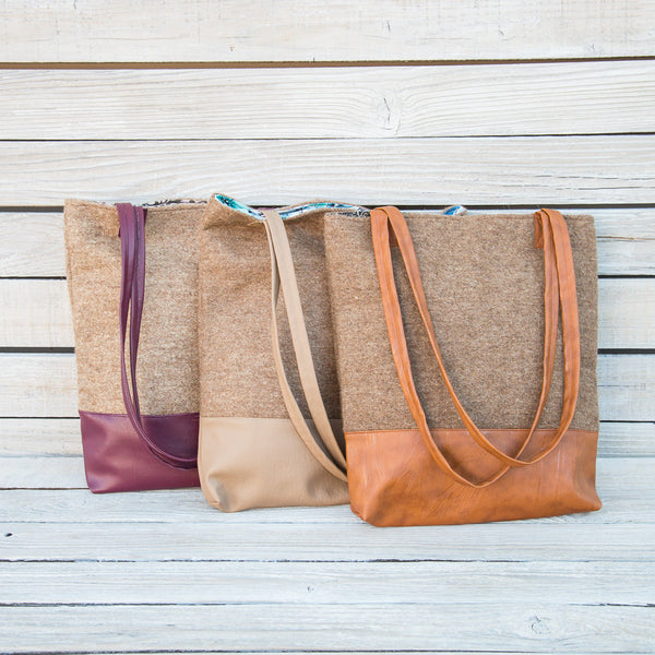 Vegan Leather & Wool Tote