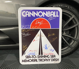 Cannonball Legends Autographed Road Sign