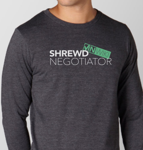 Shrewd Negotiator Long Sleeve T-Shirt (Dark Grey) - PREORDER