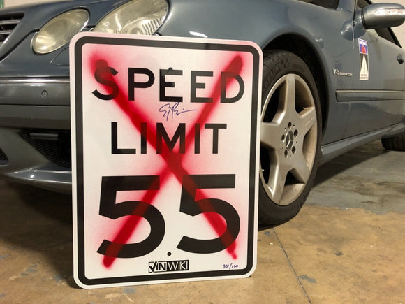 Vandalized 55 MPH Sign for Charity