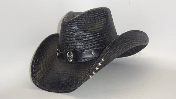 Black Straw Cowboy Hat SKULL with STUDS by Austin
