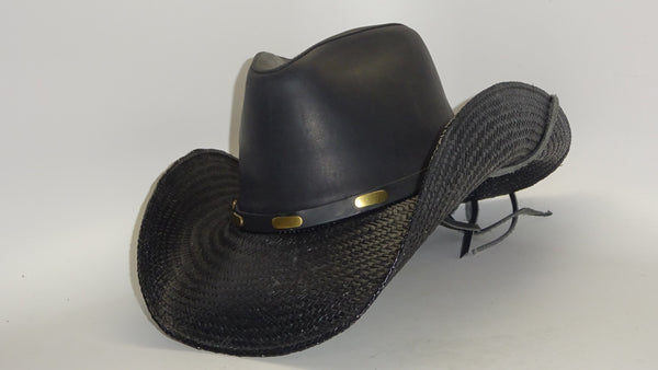 Black Straw Cowboy Hat COOPER LEATHER by Austin