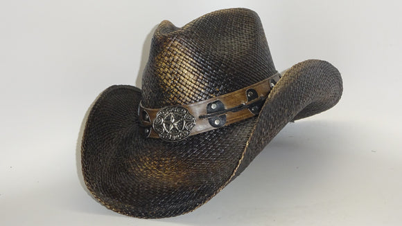 Straw Cowboy Hat PISTOLERO DARKER by Austin, just one