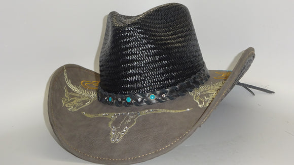 Straw Cowboy Hat BLACK LONGHORN by Austin