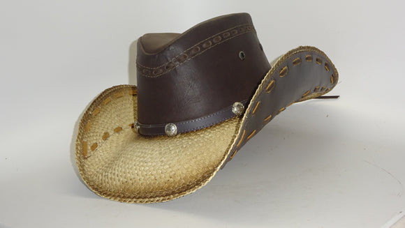 Straw Cowboy Hat OUTLAW LEATHER by Austin