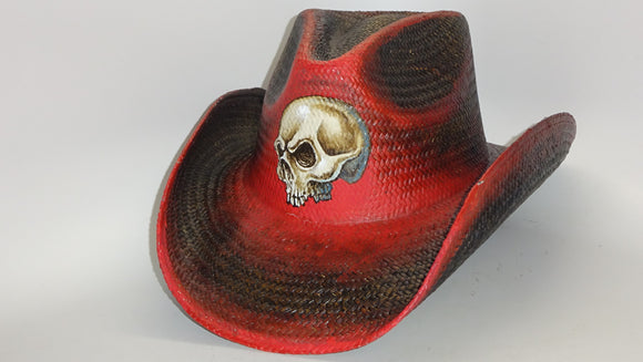 Straw Cowboy Hat SKULL by Austin