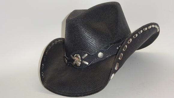 Black Jute Cowboy Hat SKULL with STUDS by Austin