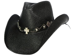 ROCK STAR Austin Black Panama Straw Cowboy Hat with Pinchfront Crown