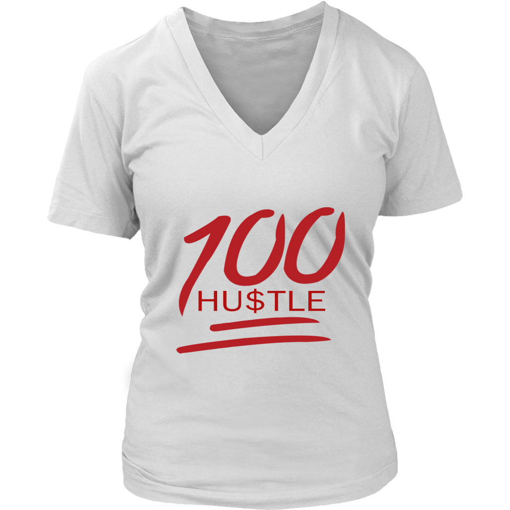 100 HU$TLE Womens V-Neck Tee