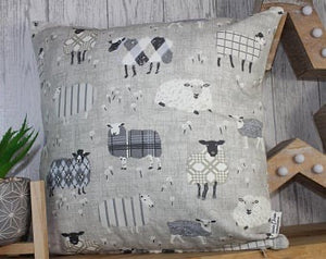 "Sheep Wearing Jumpers Cushion- Grey and Taupe- 16"" Square Cushion"