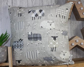 Sheep Wearing Jumpers Cushion- Grey and Taupe- 16