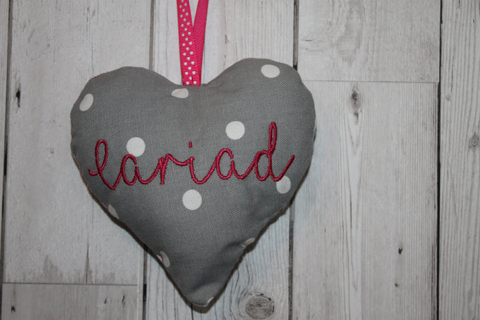 Cariad Hanging Heart- Grey and Bright Pink