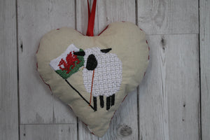 Welsh Sheep Hanging Heart