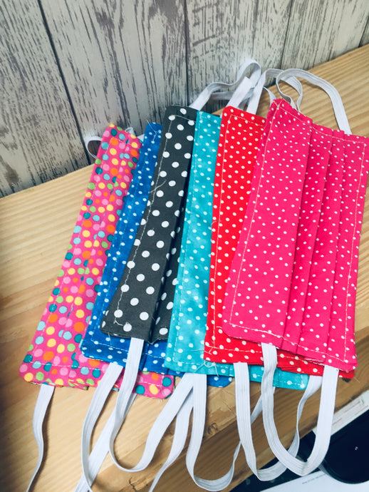 TRIPLE LAYER  Fabric Face Mask. Handmade fabric spotty fabric