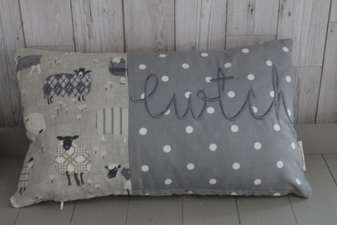 Cwtch Cushion, Sheep  and Grey Dotty