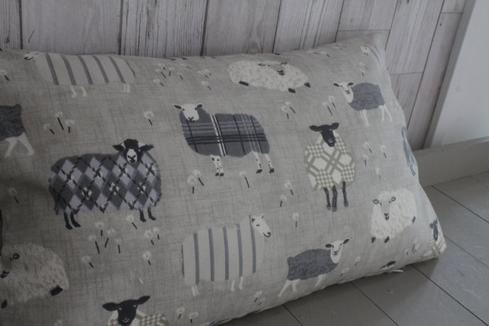 Woolly sheep Jumpers Cushion- Grey and Taupe- 20