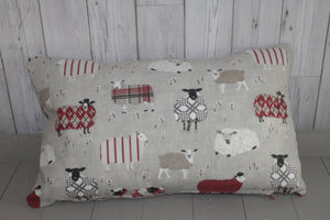 Cwtch Panel Cushion -Red and Taupe  Sheep in Jumpers Cover Only