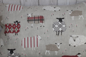 "Sheep Wearing  Jumpers  Cushion Red and Taupe-14"" Square Cushion"