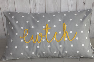 Cwtch Cushion- Grey Dotty and Mustard.