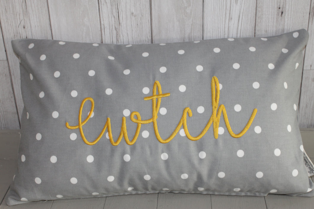 Cwtch Cushion- Grey Dotty and Mustard. 20