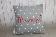 "Load image into Gallery viewer, Mamgu Cushion -14"" Grey Dotty and Stars"