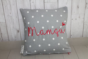 "Mamgu Cushion -14"" Grey Dotty and Stars"