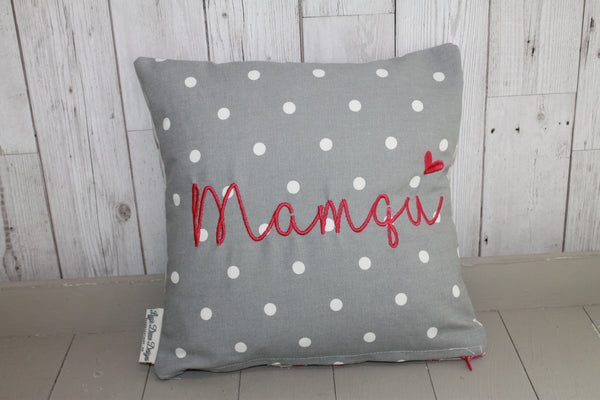 Mamgu Cushion -Grey Dotty and Stars
