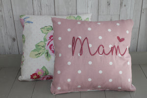"Mam Cushion -14"" Pink Dotty and Floral"
