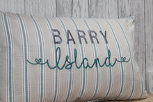 "Load image into Gallery viewer, Location Cushion - Nautical Stripe and Taupe-  20"" x 12"" Lumbar Cushion"