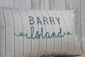 "Location Cushion - Nautical Stripe and Taupe-  20"" x 12"" Lumbar Cushion"