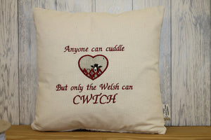 "Any one can cuddle but only the welsh can Cwtch- 16""Square Sheep in woolly jumpers  Cushion"
