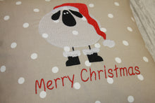 "Load image into Gallery viewer, Christmas Sheep  Cushion- 14"" Merry Christmas"