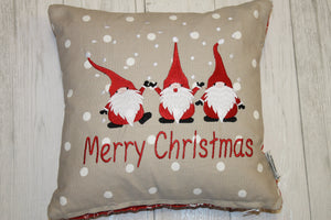 "Festive Christmas Gnomes 14"" Christmas Cushion"