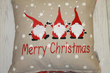 "Load image into Gallery viewer, Festive Christmas Gnomes 14"" Christmas Cushion"