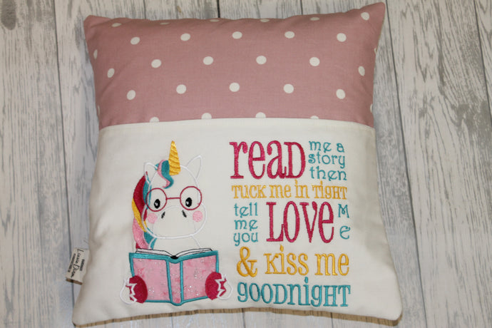 Unicorn  with Pink Dotty Reading Book Cushion