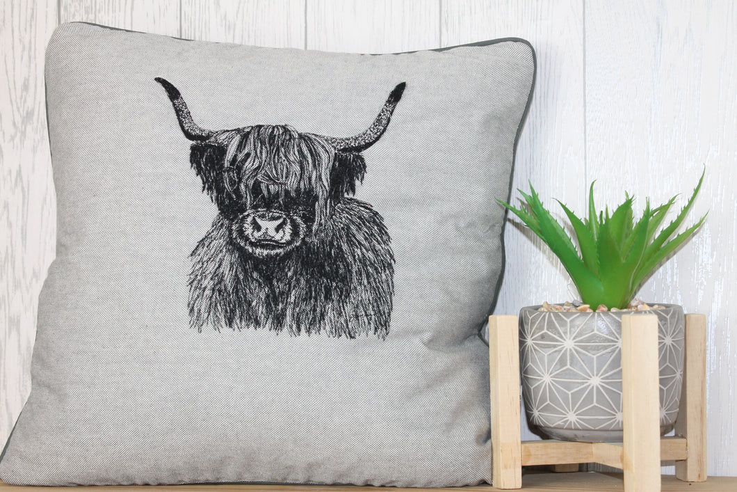 Highland Cow Cushion, Grey Piped Embroidered Cushion