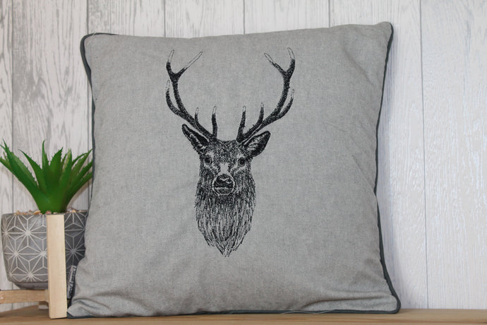 Stag Head Piped Grey Cushion