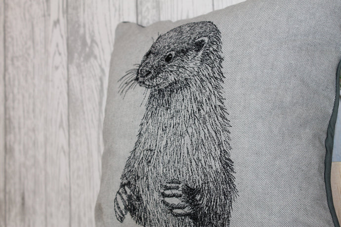 Otter Cushion-  Grey Piped Cushion