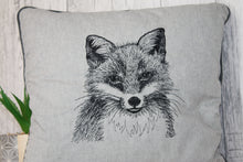 Load image into Gallery viewer, Fox Cushion, Grey Piped Fox Embroidered Cushion