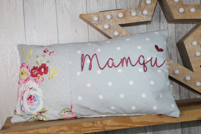 Personalised Mother's Day Cushion-Blue Rose and Dotty