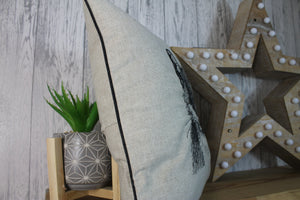 Hare Cushion, Cream Piped Hare Embroidered Cushion