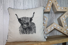 Load image into Gallery viewer, Highland Cow Cushion, Cream/Taupe Piped Embroidered Cushion