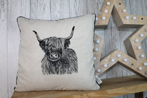 Highland Cow Cushion, Cream/Taupe Piped Embroidered Cushion